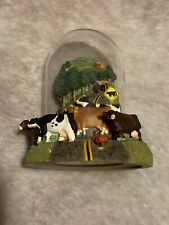Franklin Mint Cow Crossing Glass Dome