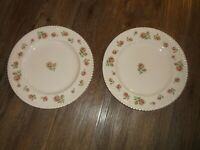 """2 Johnson Brothers Windsor Ware ENGLISH ROSE Dinner Plates 9 7/8"""" Pink Bros."""