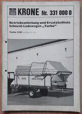 Krone Schneid-Ladewagen Turbo 2300 Betriebsanleitung und Ersatzteilliste