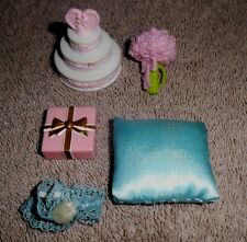 BARBIE KEN DOLL WEDDING ACCESSORIES - CAKE, BRIDE BOUQUET, GARTER BELT, PILLOW