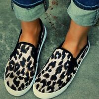 Women Fashion Retro Leopard Flock Loafers Lazy Flat Round Toe Casual Shoes