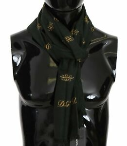 DOLCE & GABBANA Scarf Green Silk Wool Crown Pattern Mens Wrap 180x65cm RRP $440