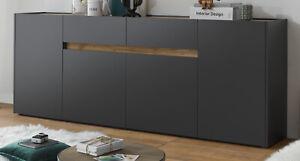 Sideboard Kommode 220 cm grau Eiche Wotan Wohnzimmer Esszimmer Anrichte Center
