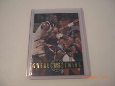 SHAQUILLE ONEAL PATRICK EWING,HOF AUTO SCOREBOARD/STAMP SIGNED CARD