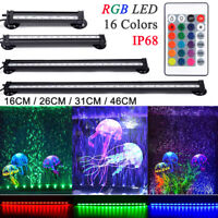RGB LED Aquarium Fish Tank Lights Air Bubble Submersible Lights Remote Control