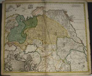 RUSSIA & NORTHERN CHINA 1719 JOHANN BAPTIST HOMANN ANTIQUE COPPER ENGRAVED MAP