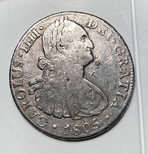 1805 CAROLUS IIII Spanish Colonial 8 Reales Silver Coin - CAROLUS IIII/ Mo TH 8R
