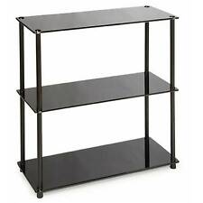 3 Shelf Bookcase Black Glass - Convenience Concepts