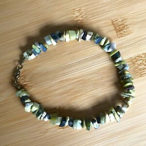 """Handmade Anklet Natural Yellow Turquoise Serpentine Gemstone Chips 9.5"""" Long"""