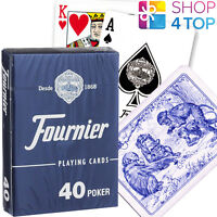 FOURNIER 40 POKER PLASTIC COATED PLAYING CARDS DECK BLUE STANDARD NEW
