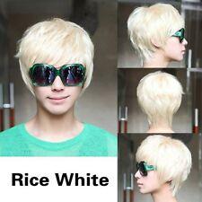 Fashion Cosplay Party Costume Man Short Platinum Blonde Rice White Straight Wig