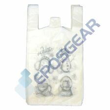 100 Large White Christmas Xmas Winter Snowman Plastic Shopping Carrier Bags
