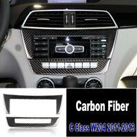 For Mercedes Benz C-Class W204 Carbon Fiber Interior Console Panel Cover Trim