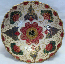 Beautifully Enameled VINTAGE SOLID BRASS BOWL From India RED, GREEN & WHITE