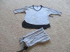 BNWT Ambrielle 2pc women's sleepwear, L, Grey w/ black dots, Rayon/spandex, $47
