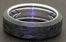 David Yurman New Sterling silver & forged carbon 8mm wide men's band ring
