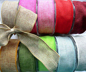 1m x 38mm WIRED HESSIAN  JUTE  BURLAP  RIBBON  NATURAL RED GREEN PINK BLUE GOLD