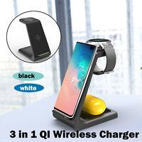 3 in1 QI Kabellos Schnell Ladestation 10W für   iPhone 11 Pro iWatch 5 4 3 2