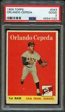 1958 Topps #343 ORLANDO CEPEDA PSA grade 2 centered ROOKIE HALL OF FAME CARD HOF