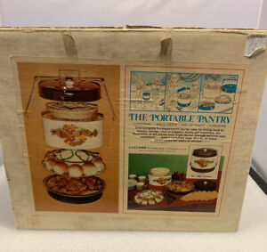 Vintage JL Clark Walnut Metal Triple Decker Food Carrier New Old Stock In Box