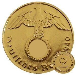 ++ 2 Reichspfennig 1940 mit HK - 24 Karat vergoldet ++