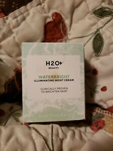H20+ beauty waterbright illuminating night cream 1.7oz anti aging 100% auth