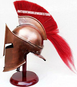 Armor 300 Spartan King Helmet Copper Finish With Red Plume