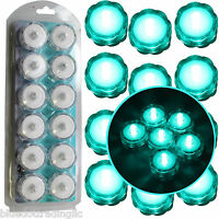 12 Turquoise LED Submersible Underwater Tea lights TeaLight Flameless US Shipper