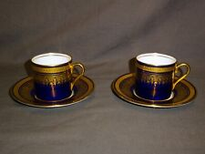 Attractive Pair Of AYNSLEY Simcoe Cobalt Blue & Gold Small Coffee Can & Saucer