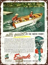 1954 EVINRUDE Fleetwin OUTBOARD MOTOR Boat Fishing Quiet Metal Sign 9x12 A569