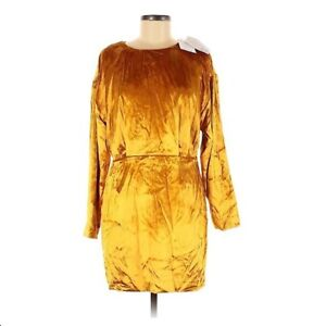 & Other Stories size 10 Dress STOCKHOLM yellow velvet mini long sleeve NWT lined