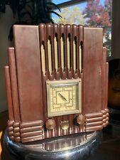 New ListingAwa Empire State Vintage Radio Brown Bakelite, The Fisk Radiolette C1930'S deco