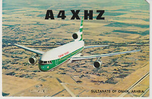 QSL Card A4XHZ Salalah  Sultanate of Oman  from 1980 Cathay Pacific card
