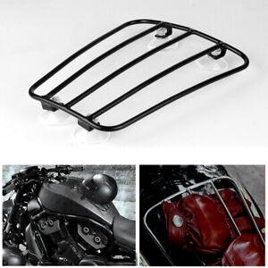 Motorcycle Balck Metal Retro Fuel Tank Bracket Backpack Suction Cup Luggage Rack