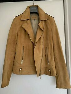 STUNNING MASSIMO DUTTI BUTTER SOFT SUEDE LEATHER JACKET SIZE S / 8-10 LITTLE USE