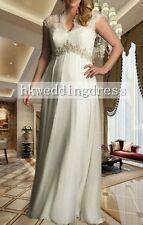 New Cap Sleeve V Neck Maternity Pregnancy Wedding Bridal Dress Custom Plus Size