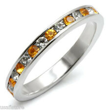 Topaz & Clear Stones  .925 Sterling Silver Eternity Ring Size 4