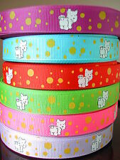 7+yds Westie Puppy Dog Grosgrain Ribbon American Girl Doll Hairbow Gift