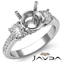 Diamond Engagement 3 Stone Elegant Round Semi Mount Ring 0.40Ct 14k White Gold