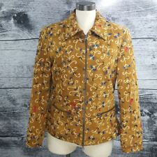 Dominique Women Leather Jacket Sz M Embroidered Flower Double Zipper Brown