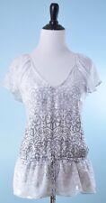 WHITE HOUSE BLACK MARKET White Silver Metallic Cap Sleeve 100% Silk Blouse S