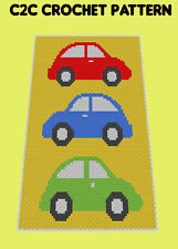 Three Cars Blanket  - C2C Graphghan Crochet Pattern