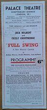 Full Swing programme Palace Theatre 29/06/1942 Jack Hulbert Cicely Courtneidge