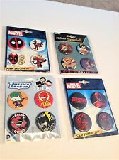 Marvel and DC Button Pin Sets Deadpool Daredevil Flash Bombshells Justice League