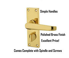 Polished Brass Victorian Straight Lever Privacy Latch Door Handles FREE P&P