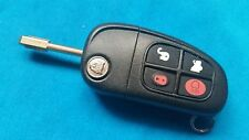 ORIGINAL JAGUAR S  X TYPE 4 BUTTON FLIP KEY FOB REMOTE 433Mhz  WITH UNCUT KEY