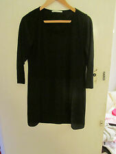 Hip Length Black 3/4 Sleeve Top in Size 12