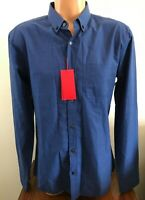 Hugo Boss Mens Long Sleeve Button Down Enico Shirt Blue Size Large L