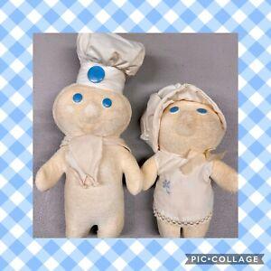 1972 Pillsbury Doughboy & Poppie Vintage Plush Terrycloth Dolls