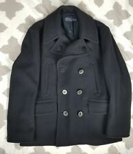 Polo Ralph Lauren Academy Wool Double Breasted Navy Blue Peacoat Jacket sz XL